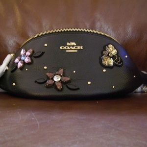 Coach Leather Gemstone Belt Bag (Black)